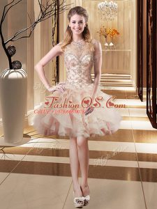 Beading Prom Evening Gown Peach Lace Up Sleeveless Mini Length