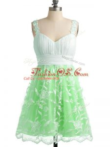 Straps Sleeveless Lace Up Bridesmaid Dress Apple Green Lace