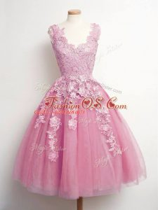 Modern A-line Wedding Party Dress Pink V-neck Tulle Sleeveless Knee Length Lace Up