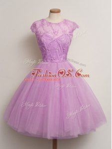 Lilac Scoop Lace Up Lace Wedding Party Dress Cap Sleeves