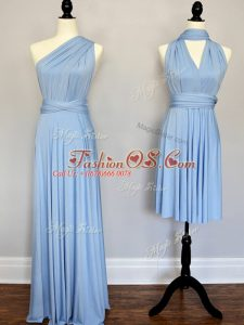 Top Selling Sleeveless Floor Length Ruching Lace Up Court Dresses for Sweet 16 with Light Blue