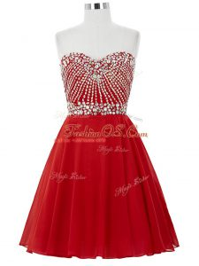 Amazing Red Sleeveless Chiffon Lace Up Cocktail Dresses for Prom and Party and Sweet 16
