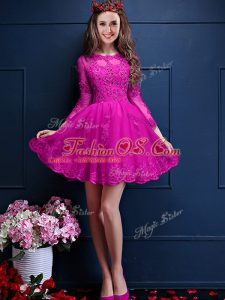 Edgy 3 4 Length Sleeve Beading and Lace and Appliques Lace Up Quinceanera Court Dresses