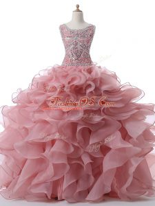 Superior Pink Quinceanera Gowns Military Ball and Sweet 16 and Quinceanera with Beading and Ruffles Scoop Sleeveless Zipper