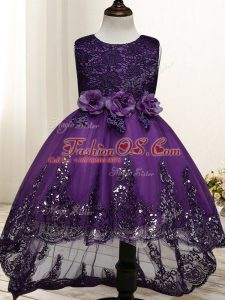 Fashion Dark Purple Sleeveless Tulle Zipper Kids Pageant Dress for Wedding Party