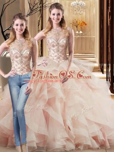 Fabulous Peach Quinceanera Dresses Tulle Brush Train Sleeveless Beading and Ruffles