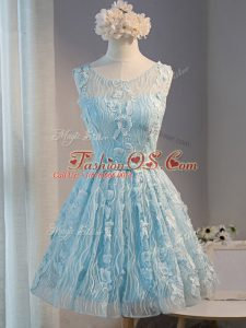 Mini Length Light Blue Party Dresses Tulle Sleeveless Lace and Appliques