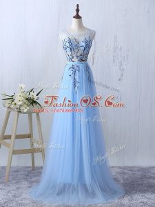 Sleeveless Tulle Floor Length Side Zipper Vestidos de Damas in Light Blue with Appliques