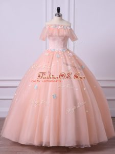 Unique Peach Short Sleeves Lace and Appliques Floor Length Sweet 16 Quinceanera Dress