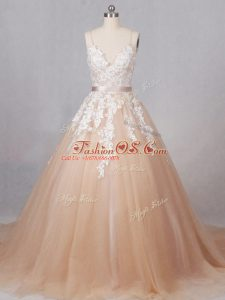Elegant Champagne Tulle Zipper Wedding Gowns Sleeveless Brush Train Appliques