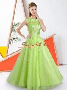 Modest Yellow Green Bateau Backless Beading and Lace Quinceanera Court of Honor Dress Sleeveless