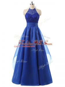 Edgy Blue Sleeveless Organza Zipper for Prom and Military Ball