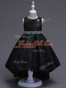 Lace Sleeveless High Low Kids Pageant Dress and Beading