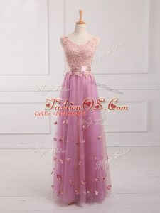 Customized Lilac Tulle Lace Up V-neck Sleeveless Floor Length Bridesmaid Dress Lace and Appliques
