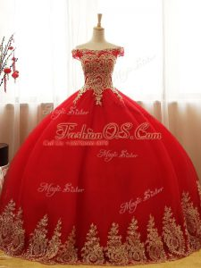 Red Tulle Lace Up Quinceanera Dresses Sleeveless Floor Length Appliques