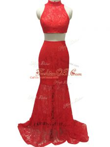 Red Halter Top Neckline Lace Party Dress Sleeveless Zipper