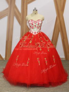Red Vestidos de Quinceanera Military Ball and Sweet 16 and Quinceanera with Embroidery and Ruffled Layers Sweetheart Sleeveless Sweep Train Lace Up