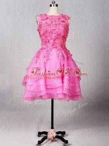 Sexy Rose Pink Zipper Scoop Lace and Appliques and Ruffled Layers Ball Gown Prom Dress Organza Sleeveless
