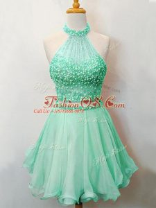 Knee Length Apple Green Vestidos de Damas Organza Sleeveless Beading