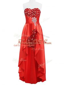 Luxury Floor Length Coral Red Cocktail Dresses Sweetheart Sleeveless Zipper