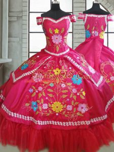 Elegant Sweetheart Short Sleeves Quinceanera Gowns Floor Length Beading and Embroidery Hot Pink Taffeta