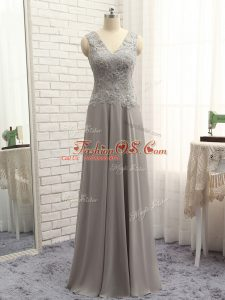 Grey Sleeveless Lace and Appliques Floor Length Mother Of The Bride Dress