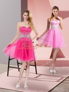 Hot Pink Tulle Zipper Sweetheart Sleeveless Mini Length Club Wear Beading
