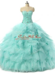 Apple Green Sweetheart Neckline Beading and Ruffles Quinceanera Dress Sleeveless Lace Up