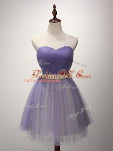 Captivating Tulle Sleeveless Mini Length Wedding Guest Dresses and Beading and Ruching