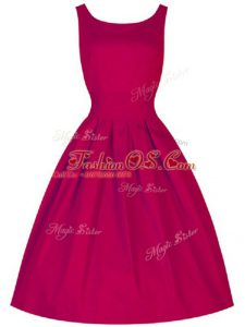 Ideal Fuchsia Scoop Lace Up Ruching Bridesmaids Dress Sleeveless