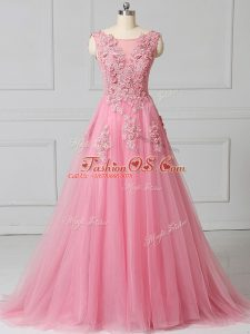 Pink Tulle Lace Up Scoop Sleeveless Prom Gown Brush Train Appliques