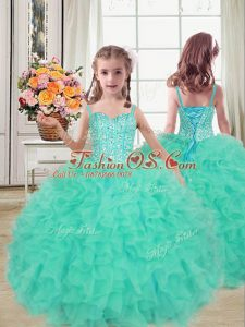 Turquoise Ball Gowns Beading and Ruffles Kids Pageant Dress Lace Up Organza Sleeveless Floor Length