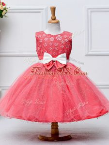 Pretty Coral Red Tulle Zipper Little Girls Pageant Dress Wholesale Sleeveless Knee Length Lace and Bowknot