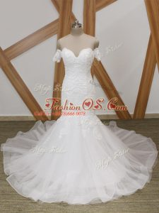 Romantic White Mermaid Tulle Off The Shoulder Short Sleeves Beading Backless Wedding Dresses Court Train