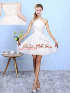 White Chiffon Lace Up Damas Dress Sleeveless Mini Length Lace and Appliques