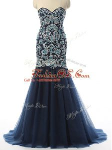 Delicate Sweetheart Sleeveless Celebrity Inspired Dress With Train Beading and Embroidery Navy Blue Tulle