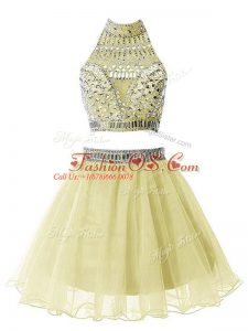 Yellow High-neck Neckline Beading Bridesmaid Gown Sleeveless Zipper