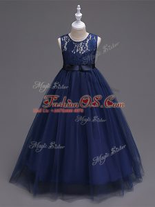 Navy Blue Zipper Scoop Lace Little Girls Pageant Gowns Tulle Sleeveless