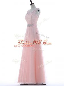 Superior Baby Pink V-neck Neckline Lace and Appliques Evening Dress Sleeveless Zipper