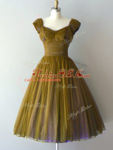 Olive Green Chiffon Lace Up V-neck Cap Sleeves Knee Length Bridesmaids Dress Ruching