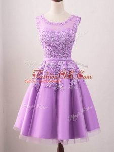 Lilac A-line Lace Wedding Party Dress Lace Up Tulle Sleeveless Knee Length