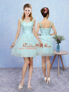 High End Aqua Blue A-line Appliques Bridesmaid Dress Lace Up Tulle Sleeveless Mini Length
