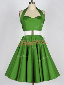 Exquisite Green A-line Taffeta Halter Top Sleeveless Belt Knee Length Lace Up Bridesmaids Dress