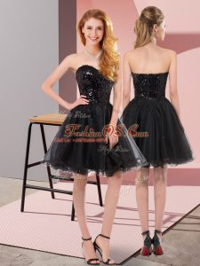 Comfortable Black A-line Sequins Homecoming Dress Zipper Tulle Sleeveless Mini Length