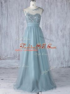 Glittering Tulle Scoop Cap Sleeves Zipper Appliques Bridesmaid Dress in Grey