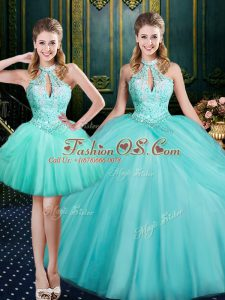 Hot Sale Sleeveless Floor Length Beading and Pick Ups Lace Up Ball Gown Prom Dress with Aqua Blue