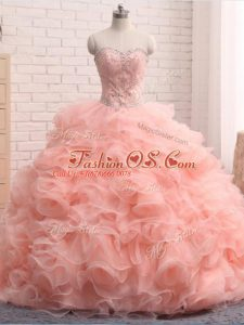 Pink Sweetheart Zipper Beading and Ruffles Quinceanera Dress Sleeveless