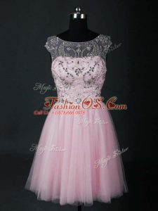Pretty Baby Pink Short Sleeves Mini Length Beading Lace Up Prom Dress