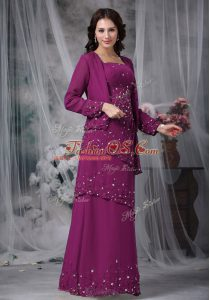 Chic Purple Empire Straps Sleeveless Chiffon Floor Length Zipper Beading Mother Of The Bride Dress