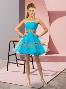 Popular Baby Blue Sleeveless Beading and Ruching Mini Length Cocktail Dresses